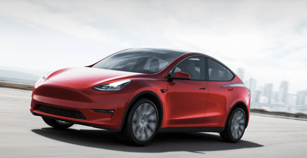 Rød Tesla Model Y